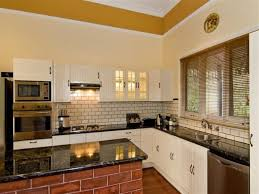 kitchen with brick backsplash kitchen looking kitchen idea using white l shaped kitchen