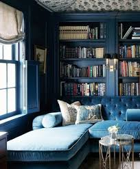 Behind Sofa Bookcase Blue Sofa With Chaise And Library Behind In Deeper Shade Of Blue