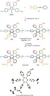synthesis and characterization of hexaarylbenzenes with five or