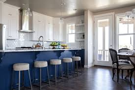 Kitchen Island With Granite Countertop Blue Kitchen Island With Blue And Grey Granite Countertops