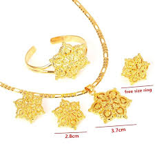 gold flowers necklace images Gold flowers set jewelry women 22k gold gf pendant necklace jpg
