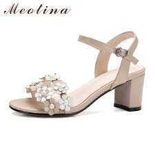 wedding shoes thick heel aliexpress buy meotina genuine leather sandals summer women