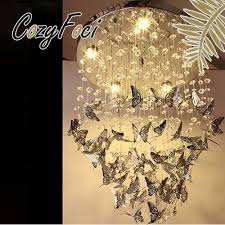 Lighting Lamps Chandeliers Chrome Led Butterfly Crystal Chandelier Pendant Lamp Ceiling