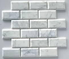 Beveled Marble Subway Tile Backsplash Image Gallery HCPR - Beveled subway tile backsplash