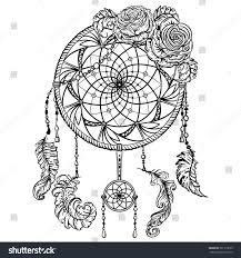 dream catcher ornament roses tattoo art stock vector 391719613
