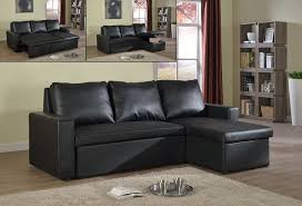 Sectional With Sofa Bed If 9002 Sectional Sofa Bed Black Bonded Leather Cadeaux Villa