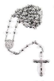 rosary bead necklace jewelry images Iced out 14k white gold rosary bead cross necklace 1 for sale jpg