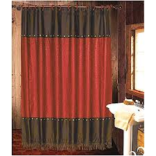 cheyenne faux tooled leather and fringe shower curtain red