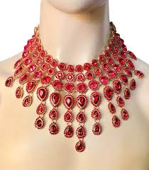 red crystal necklace set images Luxurious statement bib necklace set vibrant red crystal drag JPG
