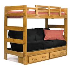 bedroom wood kids bunk bed with storage drawers underneath and