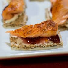 canapes fruit smoked salmon canapes with cheese and raspberry fruit spread