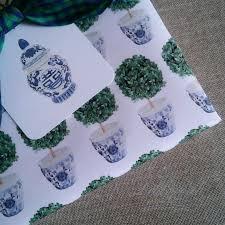 chinoiserie wrapping paper boxwood topiary in blue and white chinoiserie cachepot gift