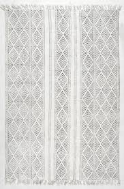 White Cotton Rug Handmade Flatweave Striped Trellis Cotton Fringe Rug