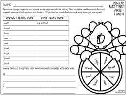 write the pattern of past tense and give exle no prep spin and write past tense verbs for thanksgiving by lindsey