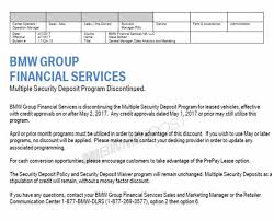 bmw lease programs bmw security deposits msd for leasing discontinued as