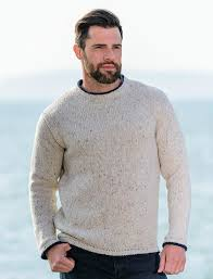 mens crew neck sweater fisherman sweater mens