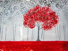how to draw and paint red u0026 black forest acrylic painting youtube