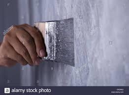 Concrete Loft Hand Of Worker Use Brush For Color Paint Concrete Loft Style On