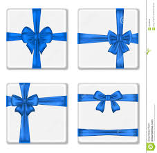 boxes with bows set gift boxes with blue bows isolated on white ba royalty free