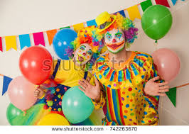 two cheerful clowns birthday children bright stock photo two cheerful clowns birthday children bright stock photo 742263670