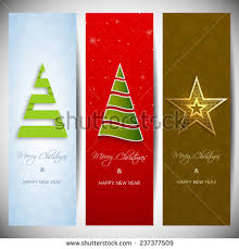 set vertical banners stylish tree stock vector 237377509