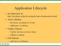 android application lifecycle android application lifecycle and menus ppt