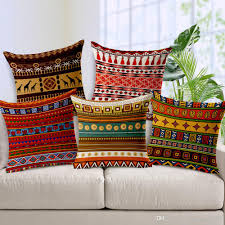 Patio Pillow Covers Exotic African Culture Art Cushion Cover Geometric Stripes Plaids