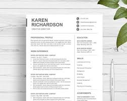 Two Page Resume Template One Page Resume Etsy