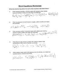 word equations chemistry worksheet worksheets releaseboard free