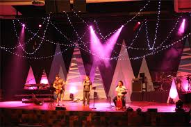 Church Stage Christmas Decorations Christmas Decorations In Stage Branches Painted With White Flat