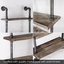 rustic industrial diy pipe shelf storage vintage wooden floating