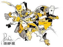 Neighborhood Map Pittsburgh Neighborhood Map Black And Gold Bear Left Bear