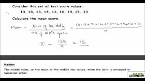 measures of central tendency mean median and mode youtube