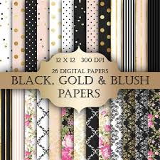 gold foil shabby chic digital papers black gold polka dot
