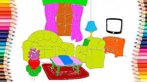 Livingroom Lounge Coloring Pages Living Room Lounge Drawing Pages Learn Rainbow