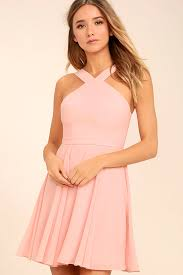 pink dresses lovely light pink dress halter dress skater dress bridesmaid