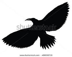 black silhouette crow circuit birds flying stock vector 486695719