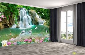 nature wallpaper wall murals waterfall and swans fototapet nature wallpaper wall murals waterfall and swans