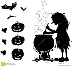 halloween cartoon set with silhouettes of witch bat pumpkin an