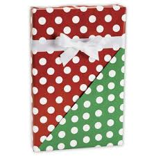 reversible christmas wrapping paper christmas polka dot reversible gift wrapping paper 24 x 100