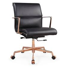carnegie modern office chair luxe black rose gold italian leather