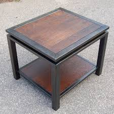 wood metal end table textured walnut and gun metal end table carlson design i can