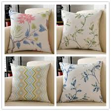 green ans blue leaves cushions shabby chic throw pillows for