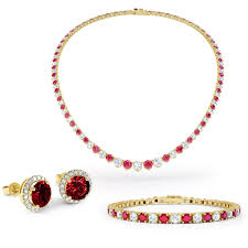 ruby necklace set images Eternity ruby 18ct gold vermeil jewellery set with necklace jian jpg