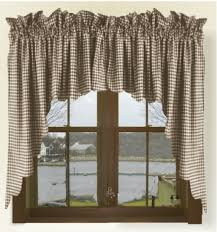 Brown Gingham Curtains Brown Gingham Check Scalloped Window Swag Valance Set