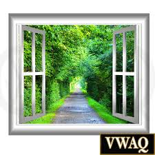 peaceful walking path window frame 3d wall art serene trees and home peel and stick wall decals 3d window frames 3d wall art green tunnel decal trees window frame peel stick easy to apply home decor wall mural