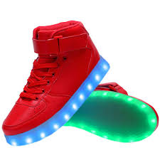 led light up shoes women high top usb charging led light up shoes flashing sneakers red