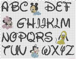 cross stitch disney baby alphabet font disney and baby characters