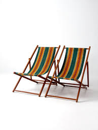 vintage deck chairs stripe beach folding chair