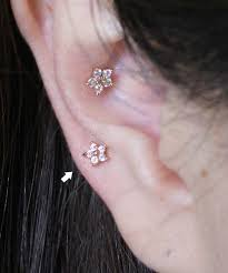 bar earring cartilage 16g cz studded sparkling mini flower barbell ear piercing stud